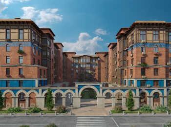 Архитектурная особенность комплекса - аркады, соединяющие дома